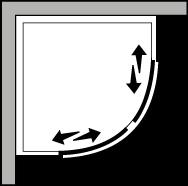 QSSC R55 : Semicircolare due porte scorrevoli per piatto r.55