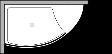 VLPTL + VLFI + VLPO : Piatto doccia l.140 con vetro fisso e porta