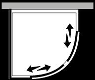 FRSC + FRFI : Semicircolare 2 scorrevoli con lato fisso (componibile ad angolo)
