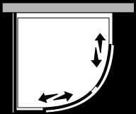 LSSC + LKFI : Semicircolare 2 scorrevoli con lato fisso (componibile ad angolo)
