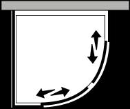 QSSC + QUFI R55 : Semicircolare due porte scorrevoli con lato fisso per piatto r.55