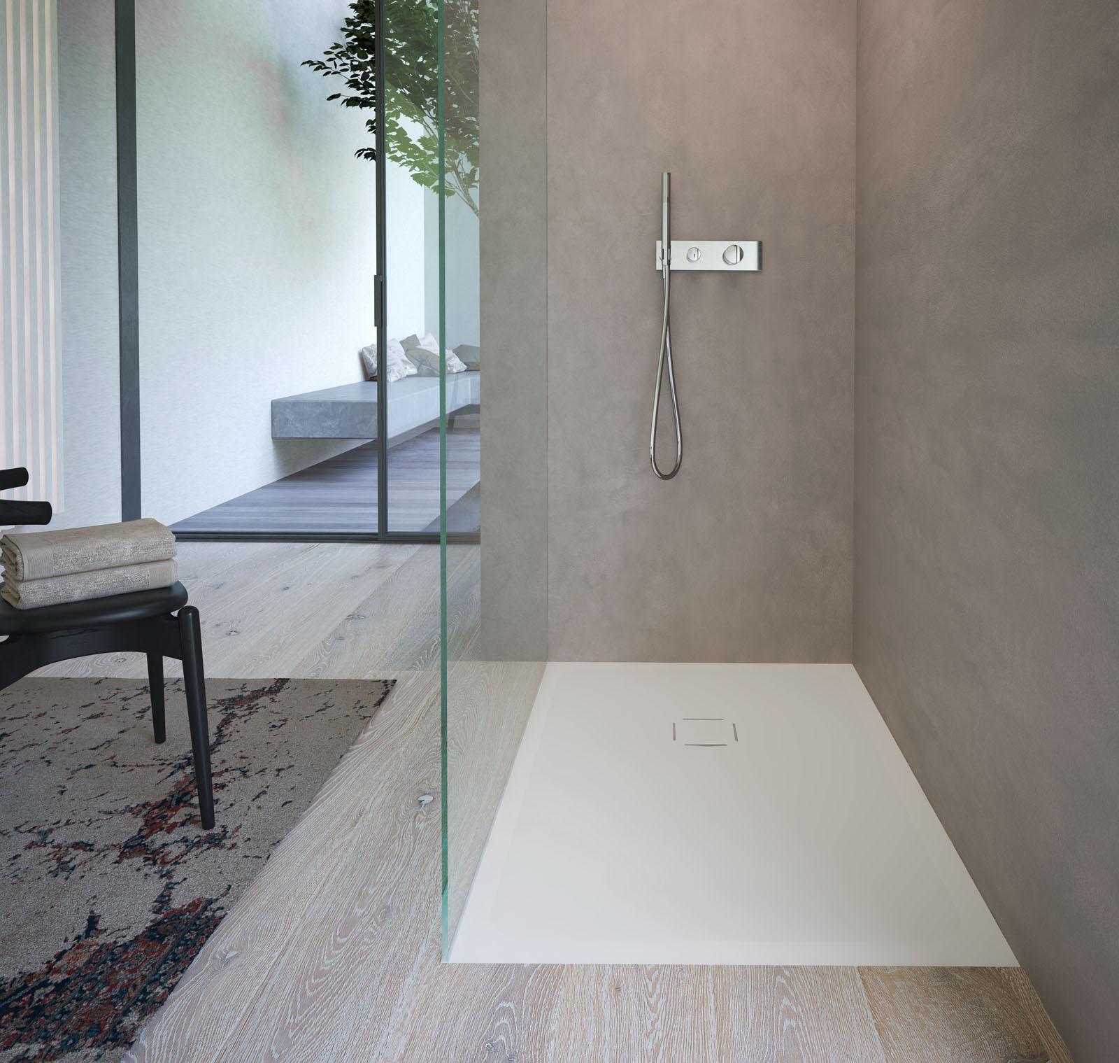 Kubo piatto doccia a filo pavimento in aquatek disenia - Doccia senza piatto doccia ...