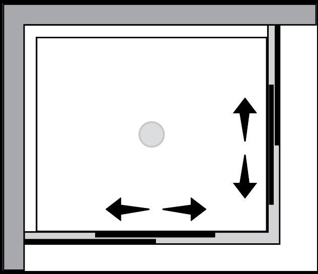 QT1S+QT1S : Porta doppio scorrevole (ad angolo)